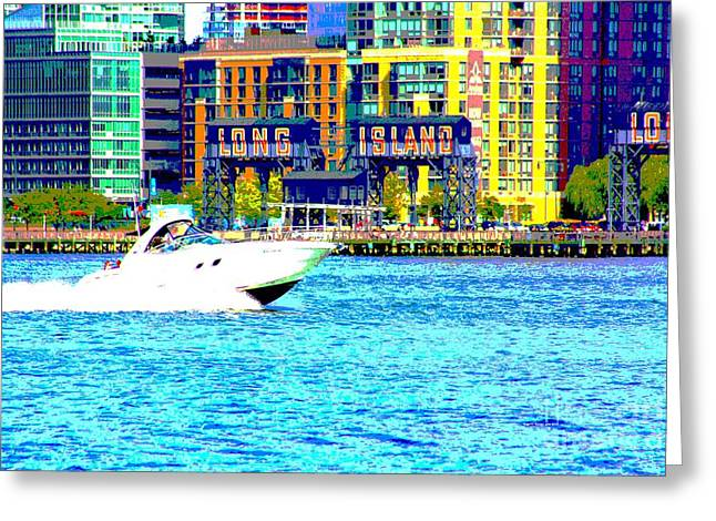 Yachting Mixed Media Greeting Cards - Long Island Greeting Card by Rogerio Mariani