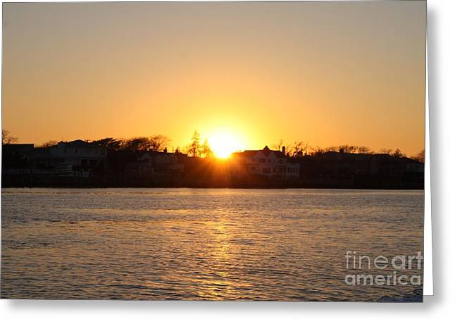 Reflections Of Sky In Water Greeting Cards - Long Island Winter Sunset Greeting Card by John Telfer