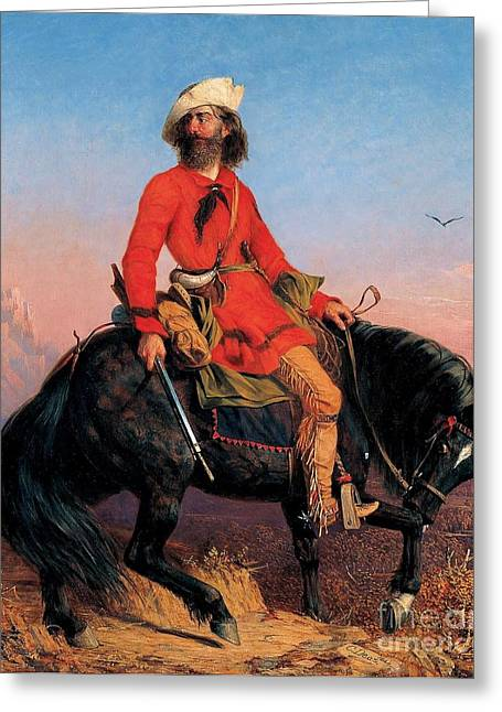 Trappers Greeting Cards - Long Jake - Rocky Mountain Man Greeting Card by Pg Reproductions