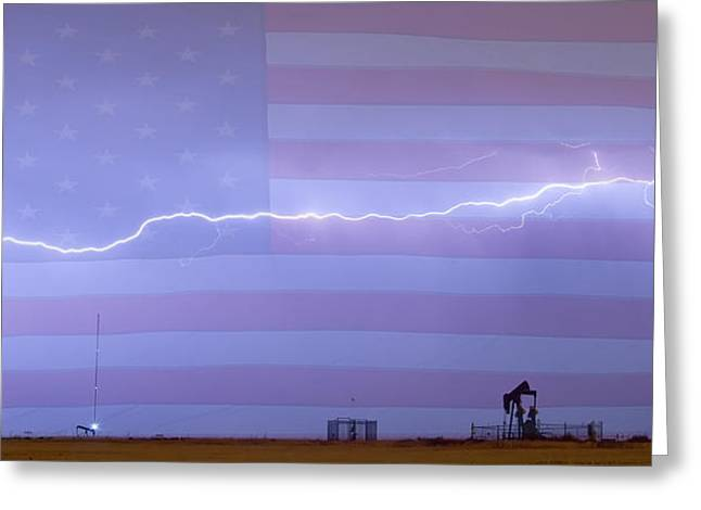 Storm Prints Photographs Greeting Cards - Long Lightning Bolt Across American Oil Well Country Sky Greeting Card by James BO  Insogna