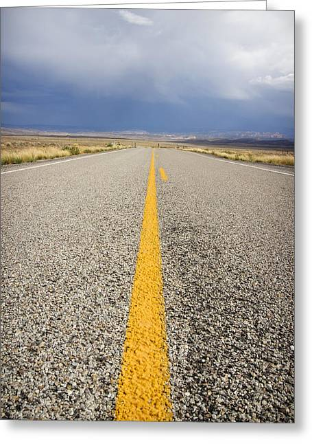 Driving Greeting Cards - Long Lonely Road Greeting Card by Adam Romanowicz