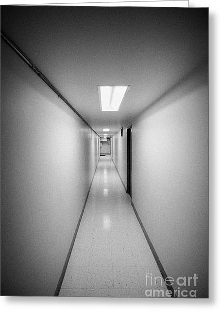 Basement Greeting Cards - Long Narrow Thin Building Corridor Greeting Card by Joe Fox