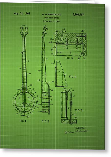 Bedroom Art Greeting Cards - Long Neck Banjo patent from 1964 - Green Greeting Card by Chris Smith