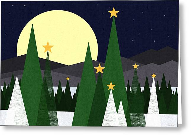 Snowy Night Greeting Cards - Long Night Moon Greeting Card by Val Arie