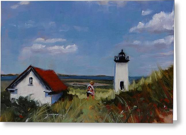 New England Lighthouse Greeting Cards - Long Point Lighthouse Greeting Card by Laura Lee Zanghetti