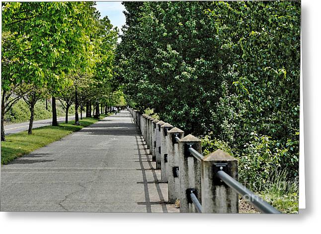 Vancouver Mixed Media Greeting Cards - Long Public Sidewalk in Nature Greeting Card by Lee Serenethos