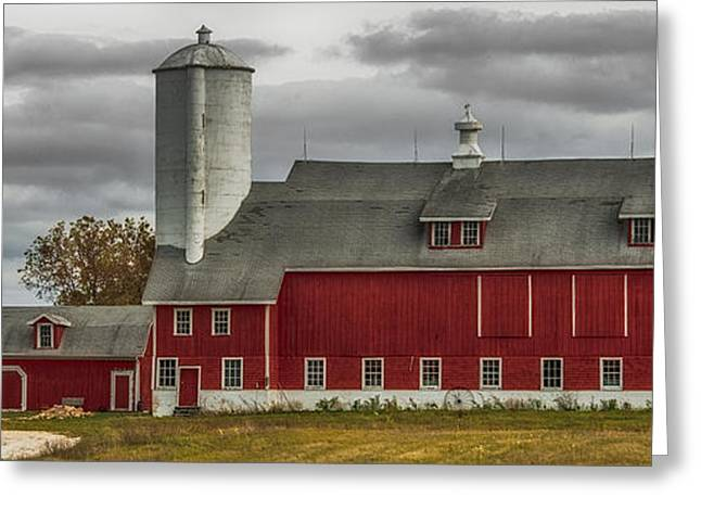 Wooden Antique Building Greeting Cards - Long Red Barn Greeting Card by Paul Freidlund