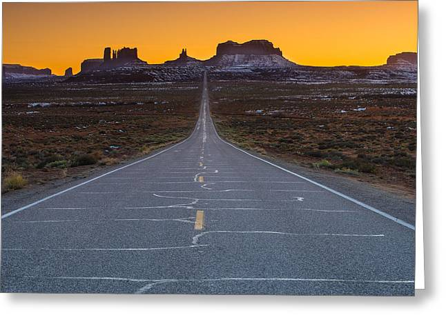 Lonely Greeting Cards - Long Road to Monument Valley Greeting Card by Larry Marshall