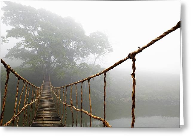 Connected Greeting Cards - Long Rope Bridge Greeting Card by Skip Nall