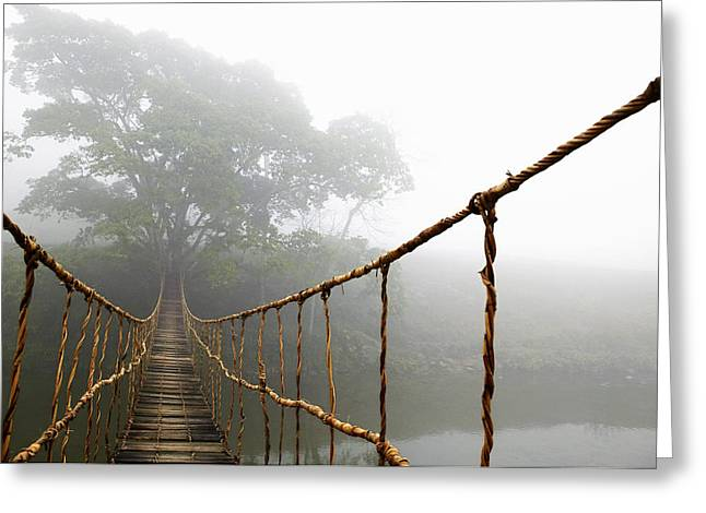 Long Rope Bridge Greeting Card by Skip Nall
