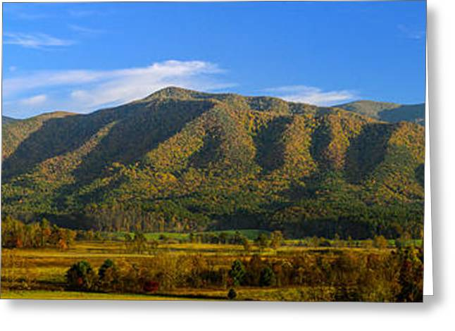 Field. Cloud Greeting Cards - Long Shadows fall on Cobb Ridge Panorama Greeting Card by Steve Samples