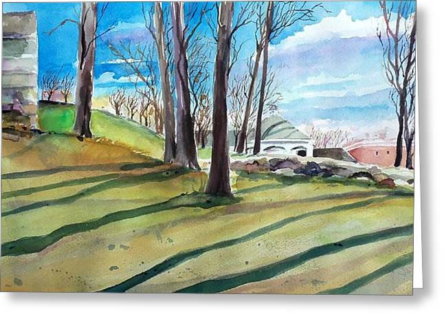 Scott Nelson And Son Paintings Greeting Cards - Long Shadows Greeting Card by Scott Nelson