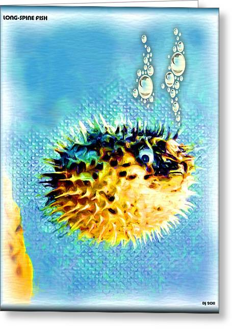 Porcupine Fish Digital Greeting Cards - Long-spine Fish Greeting Card by Daniel Janda