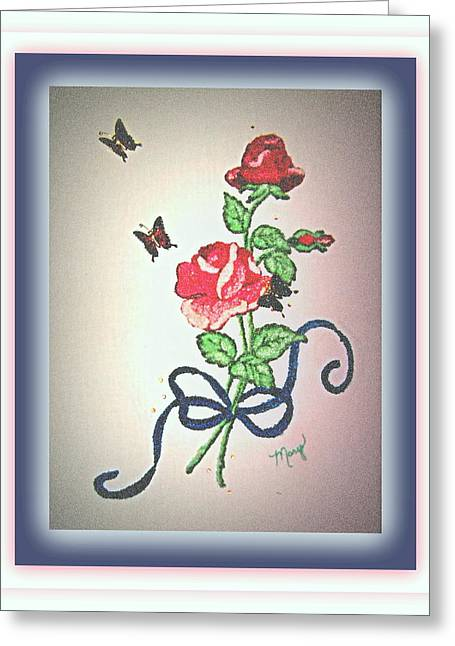 Roses Tapestries - Textiles Greeting Cards - Long Stem Rose Greeting Card by Mary Grabill