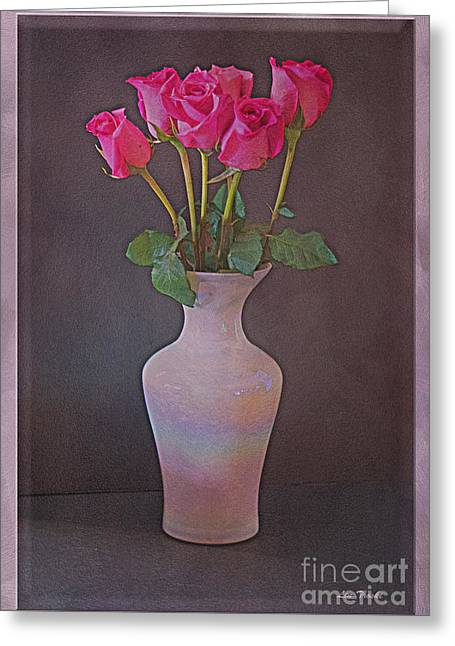 Les Fleurs Greeting Cards - Long Stem Roses Greeting Card by Linda Troski
