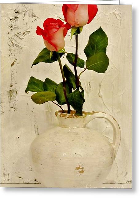 Pottery Pitcher Digital Greeting Cards - Long Stemmed Red Roses In Pottery Greeting Card by Marsha Heiken