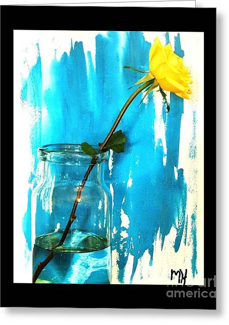 Boarder Greeting Cards - Long Stemmed Yellow Rose Greeting Card by Marsha Heiken
