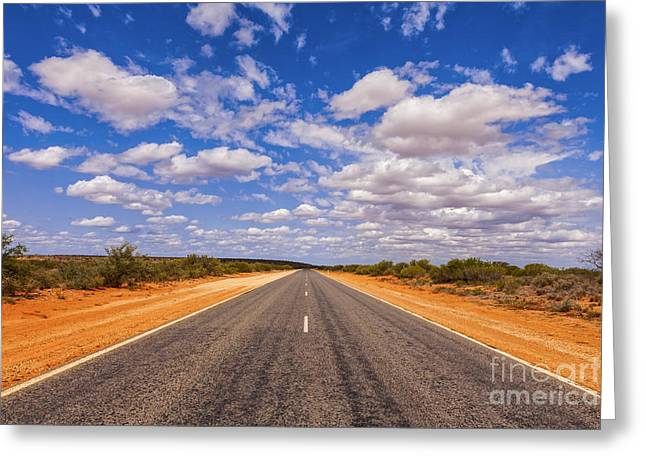 Straight Greeting Cards - Long Straight Road Australia Outback Greeting Card by Colin and Linda McKie