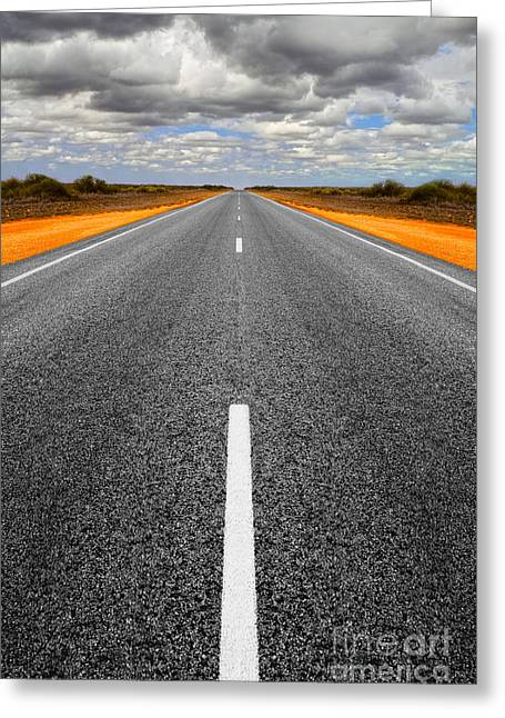 Ahead Greeting Cards - Long Straight Road with Gathering Storm Clouds Greeting Card by Colin and Linda McKie