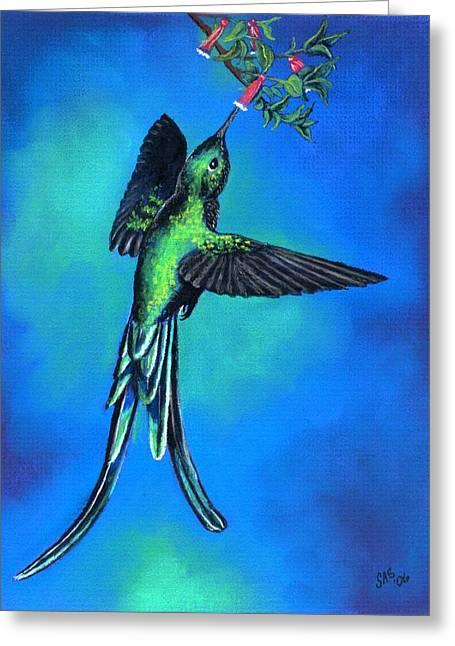 Long Tail Sylph  Greeting Card by Sherri Strikwerda