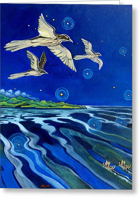 Aotearoa Greeting Cards - Long Tailed Cuckoo and The Explorers Greeting Card by Patricia Howitt