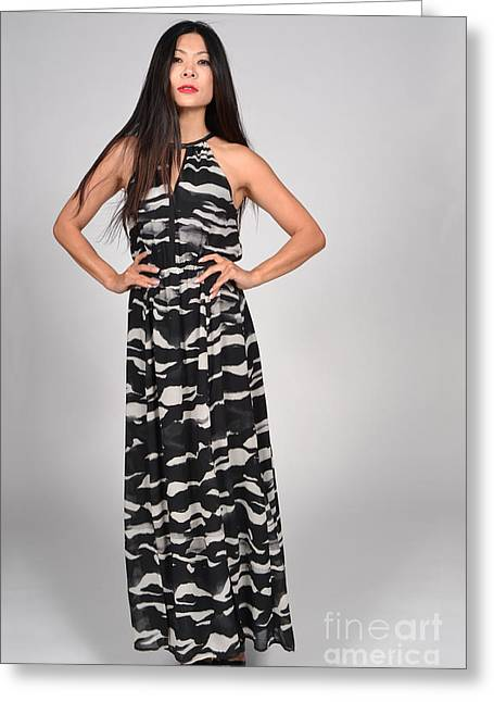 Oriental Woman Photos Greeting Cards - Long Tall Drink Female Asian Model Greeting Card by Heather Kirk