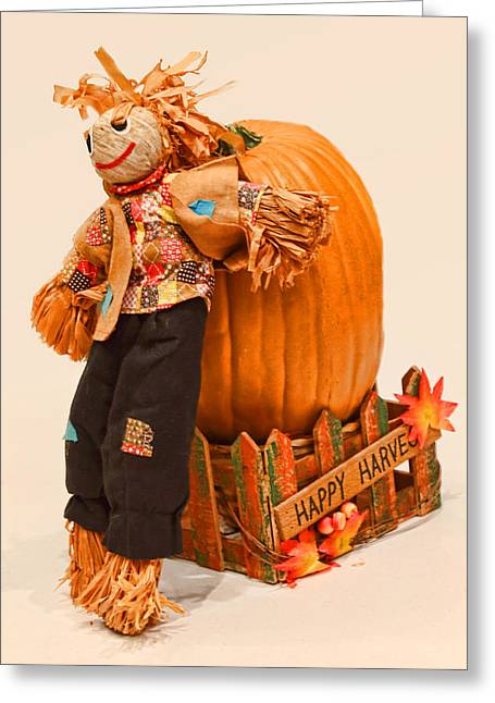 Cardboard Greeting Cards - Long Tall Scarecrow and Pumpkin Greeting Card by Linda Phelps