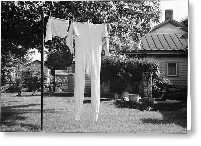 Long Underwear Hanging Out To Dry Greeting Card by Library Of Congress