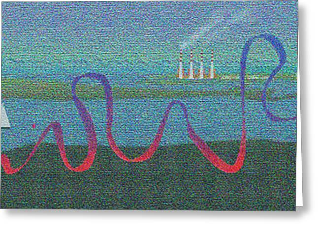 Sailboats In Harbor Digital Art Greeting Cards - Long View Greeting Card by Doris Rowe