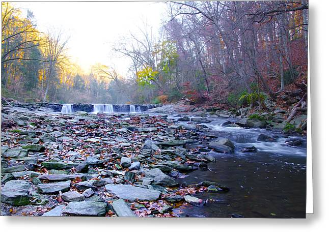 Changing Of The Seasons Greeting Cards - Long View of the Wissahickon Waterfall Greeting Card by Bill Cannon