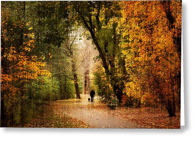Dog Walking Digital Art Greeting Cards - Long Walk Home Greeting Card by Jessica Jenney