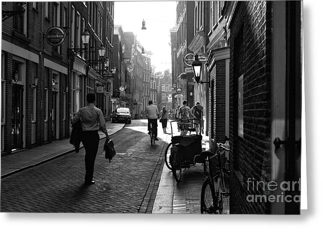Long Street Greeting Cards - Long Walk in Amsterdam mono Greeting Card by John Rizzuto