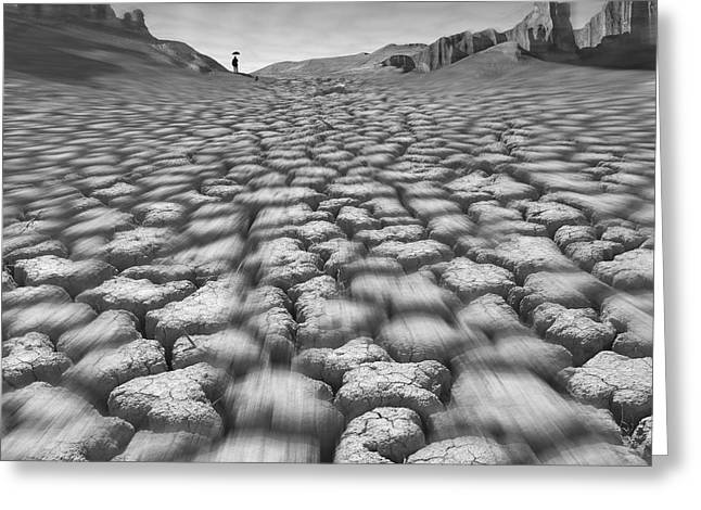 Photoshop Greeting Cards - Long Walk On A Hot Day Greeting Card by Mike McGlothlen