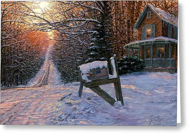 Old Country Roads Paintings Greeting Cards - Long Way From Home Greeting Card by Doug Kreuger
