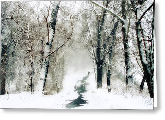 Winter Landscape Digital Greeting Cards - Long Way Home Greeting Card by Jessica Jenney