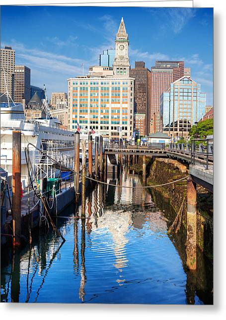 Recently Sold -  - Blue Sailboats Greeting Cards - Long Wharf Boston Greeting Card by Jo Ann Snover