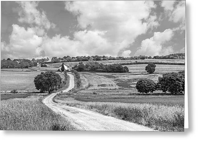 Open Field Greeting Cards - Long Winding Road in Black and White Greeting Card by Gill Billington