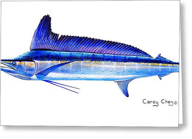 Striped Marlin Paintings Greeting Cards - Longbill spearfish Greeting Card by Carey Chen