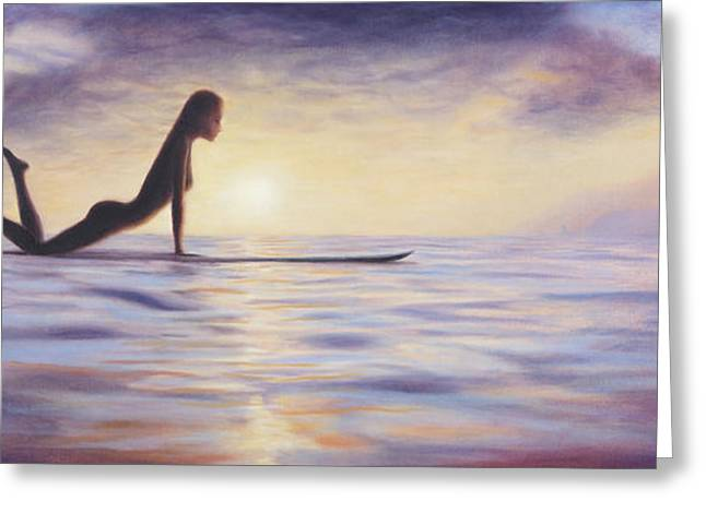 Surf Silhouette Paintings Greeting Cards - Longboard Love Greeting Card by Kelly Meagher
