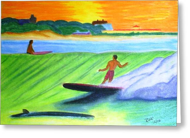 Waves Pastels Greeting Cards - Longboard Surfer Greeting Card by Ray Ratzlaff
