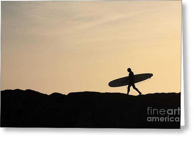 Santa Cruz Surfing Greeting Cards - Longboarder Crossing Greeting Card by Paul Topp