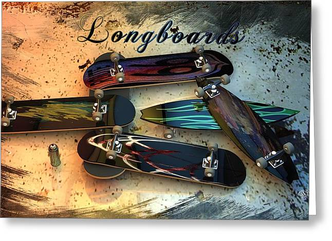 Skateboard Print Greeting Cards - Longboards Greeting Card by Louis Ferreira