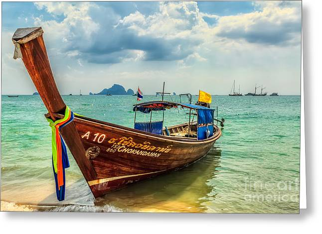 Charters Greeting Cards - Longboat Asia Greeting Card by Adrian Evans