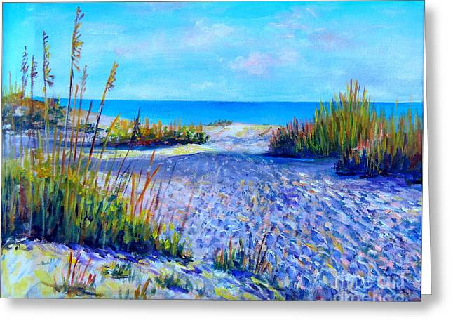 Sea Grass In The Sand Greeting Cards - Longboat Key View Greeting Card by Lou Ann Bagnall