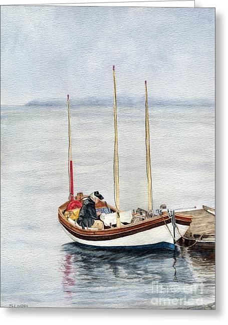 Sailer Greeting Cards - Longboat Greeting Card by Sandy Linden