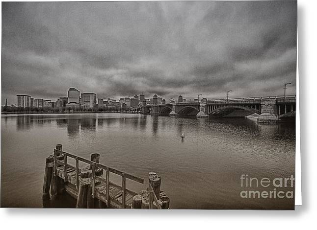 Massachusetts Bridges Greeting Cards - Longfellow Bridge Boston V8 Greeting Card by Douglas Barnard