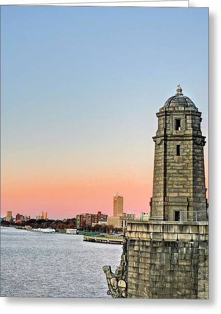 The Bean Greeting Cards - Longfellow Bridge Tower Greeting Card by JC Findley