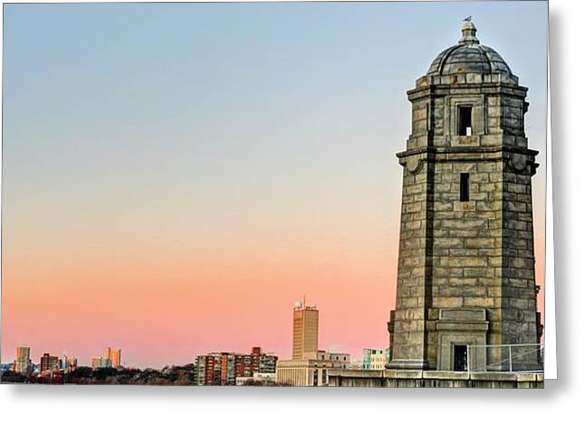Longfellow Bridge Tower Greeting Card by JC Findley