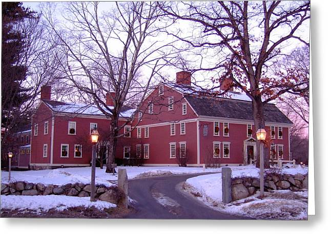 Sudbury Ma Photographs Greeting Cards - Longfellows Wayside Inn in Winter Greeting Card by Nancy Nehez