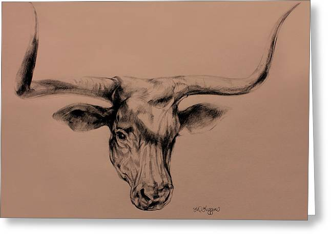 Steer Drawings Greeting Cards - Longhorn Drawing Greeting Card by Derrick Higgins